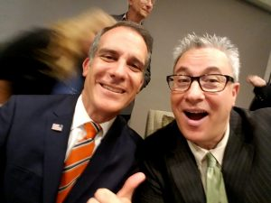 los angeles mayor eric garcetti with hank yuloff