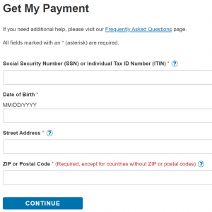 Info needed for Get My COVID-19 Payment status