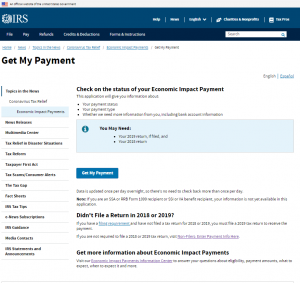 IRS COVID-19 Get My Payment site