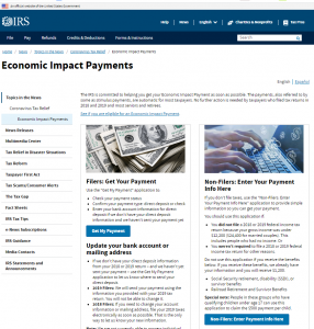 IRS COVID-19 payment sites