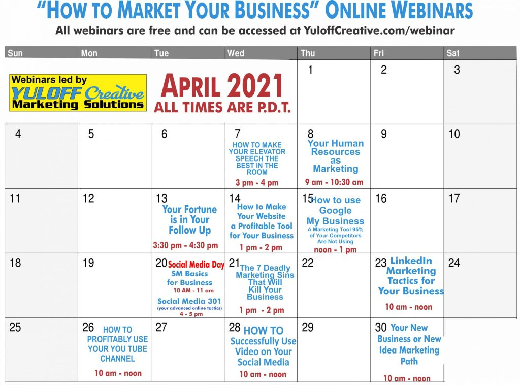 free business webinars in April 2021